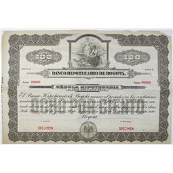 Banco Hipotecario de Bogota, 1910-30 Specimen Bond in brown