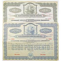 Banco Hipotecario de Bogota. ND (ca.1910-30) Specimen Bond Pair