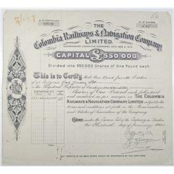 Colombia Railways & Navigation Co. Ltd. 1924 I/U Stock Certificate Rarity