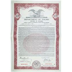 Department of Tolima 1948 Specimen Bond