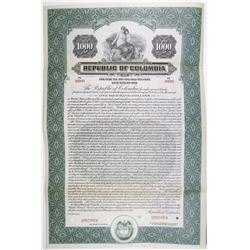 Republic of Colombia, 1922 Specimen Bond