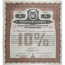 Republica de Colombia 1919 Specimen Bond