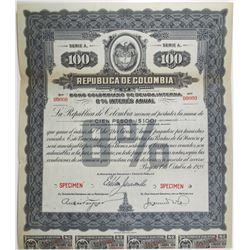 Republica de Colombia 1928 Specimen Bond