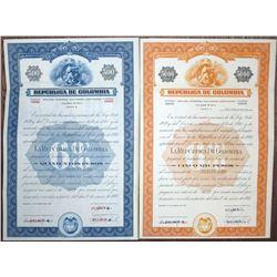 "Republica de Colombia, ""Class A - 6%"" Deuda Interna Nacional Unifacada, 1941 Specimen Bond Pair"