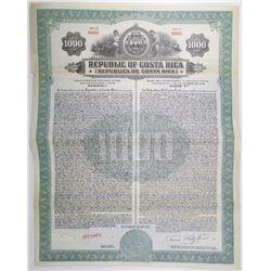 Republic of Costa Rica, Pacific Railway Bond, 1927 Specimen Bond