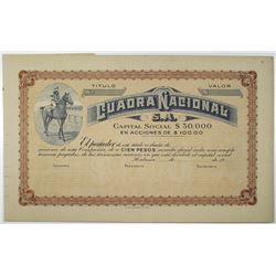 Cuadra Nacional S.A., ca.1910-50 U/U Horse Racing Stock Certificate