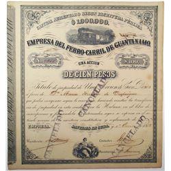 Empresa del Ferro-Carril de Guantanamo 1882 I/C Stock Certificate