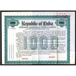 Republic of Cuba, Temporary Certificate of Speyere & Co., 1904. $1000 Specimen Bond.