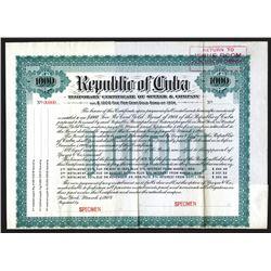 Republic of Cuba, Temporary Certificate of Speyere & Co., 1904. $1000 Specimen Bond.