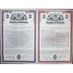 "Kingdom of Denmark, 1967 and 1970 ""External Loan"" Specimen Bond Pair"
