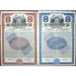 Republic of El Salvador, Series C. 1923 Specimen Bond Pair