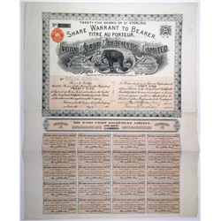 Ivory Coast Goldfields, Ltd. 1902 I/U Share Warrant with Great Elephant Vignette