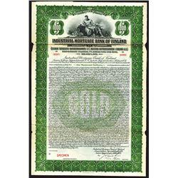Industrial Mortgage Bank of Finland 1924 Specimen Bond.