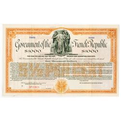 Government of the French Republic, 1917 Specimen Bond