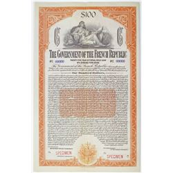 Government of the French Republic, 25 Year External Gold Loan, 1920 Specimen Bond