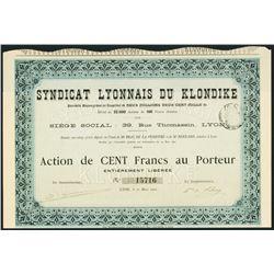 Syndicat Lyonnais du Klondike 1901 I/U Stock Certificate