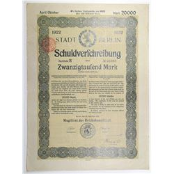 City of Berlin, 1922 Issued Bond