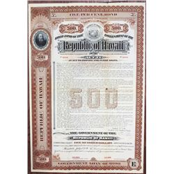 "Republic of Hawaii, Government Loan of 1896, Act 71, 1896, $500 ""Series E"" Historic Specimen Bond."