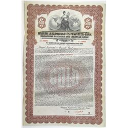 Hungarian Discount and Exchange Bank 1928 Specimen Bond
