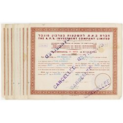 A.P.B. Investment Co. Ltd., 1950-1952 Group of 9 Cancelled Share Certificates