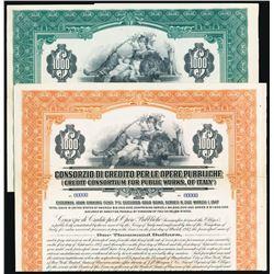 Credit Consortium for Public Works, of Italy,1927 Specimen Bond Pair.