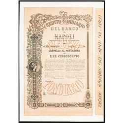 Credito Fondiario Del Banco di Napoli, 1866 Specimen Bond.