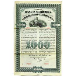 Banco Agricola e Hipotecario de Mexico 1897 Specimen Bond
