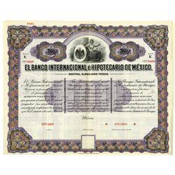 Banco Internacional e Hipotecario de Mexico ca.1900 Specimen Bond.