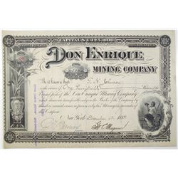 Don Enrique Mining Co. 1888 Stock Certificate