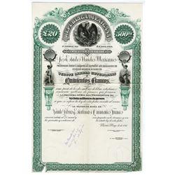 Republica Mexicana, 1884 Unique Approval Proof Bond Rarity.