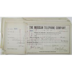 Mexican Telephone Co., 1882 I/C Stock Certificate Group of 25