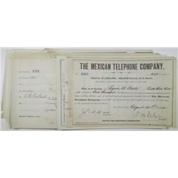 Mexican Telephone Co., 1882 to 1895 I/C Stock Certificate Group of 25