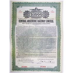 Central Argentine Railway Ltd. 1917 Specimen Bond