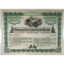 Hungarian American Bank of New York, ca.1910-1920 Specimen Stock Certificate