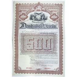 Deutscher Verein 1891 Specimen Bond