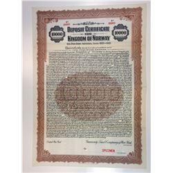 Deposit Certificate for Kingdom of Norway, 1921 Specimen Loan