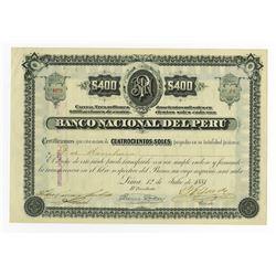 Banco Nacional del Peru 1881 I/U Stock Certificate
