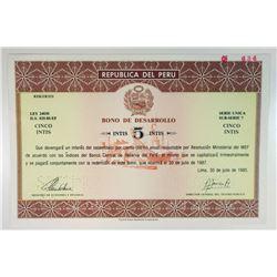 Republica del Peru 1986 Specimen Bond