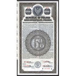 Republic of Poland, 20 Year 6% U.S. Dollar, 1920 Specimen Gold Bond