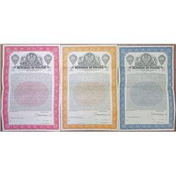 Republic of Poland, 3% Dollar Funding Bond, 1936 Specimen Bond Trio