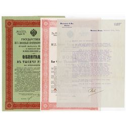 Imperial Russian Government, 1916 Pair of Issued Bonds & Specimen Facsimile with Translation with Ty