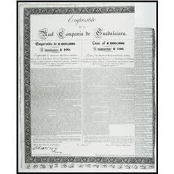 Real Compania de Guadalajara, Loan of £600,000. 1825, £100 Sterling I/U Bond Signed by Marquis de Cr