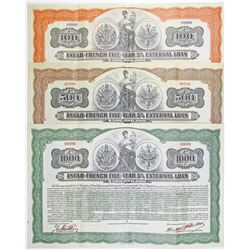 Anglo-French Five-Year 5% External Loan, 1915 Specimen Coupon Bearer Bond Trio.