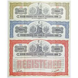 Anglo-French Five-Year 5% External Loan, 1915 Specimen Registered Bond Trio.