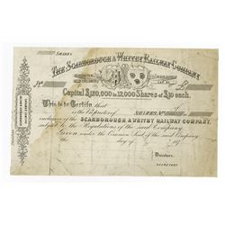 Scarborough & Whitby Railway Co., 1870's Proof Stock Certificate