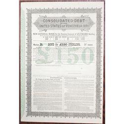 Consolidated Debt of the United States of Venezuela, 1881 Specimen Bond.