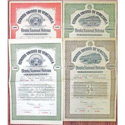 Estados Unidos de Venezuela, 1915 and 1920 Specimen Bond Quartet