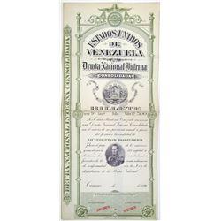 Estados Unidos de Venezuela, Deuda Nacional interna Consolidada, 1896 Specimen Bond