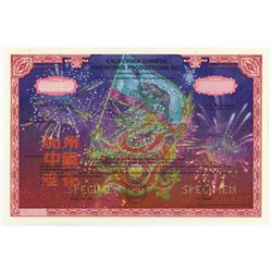 California Chinese Fireworks Productions Inc., 2003 Specimen Stock Certificate