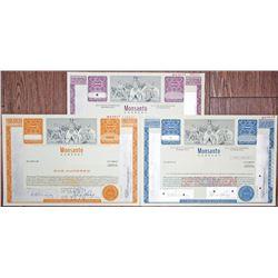 Monsanto Co. Specimen Stock Certificate Trio, ca. 1970's